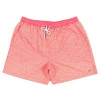 Fractured Lines Dockside Swim Trunk in Strawberry Fizz & Melon by Southern Marsh