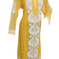 WOMEN'S Long Kurti Yellow/White Embroidered Georgette Designer Ethnic Kurta Dress XL: Amazon.ca: Clothing & Accessories