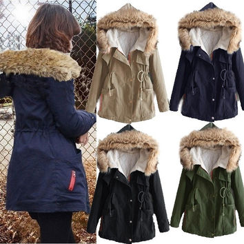 Womens Winter Warm Thick Fleece Faux Fur Coat Jacket Parka Hooded Trench Outwear Long Warm Overcoat = 1931598724