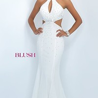 Long Prom Dress with Keyhole and Side Cut Outs by Blush