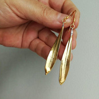 Gold leaves earrings, electroplated gold, drop earrings of olive leaves, gold olives' leaves earrings with sterling hooks, silver olive