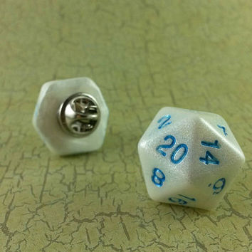 D20 RPG Dice Pin, Tabletop Role Playing Game, Gaming Hat Pin, Twenty Sided Pin, Geeky Gamer, Role Playing Dice Pinback, Critical Hit For Dad