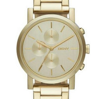 Dkny Lexington Chronograph Champagne Dial Gold Plated Watch