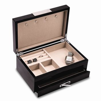 Steel Gray Lacquered W/ Stainless Steel Accents 2 Level Jewelry Box