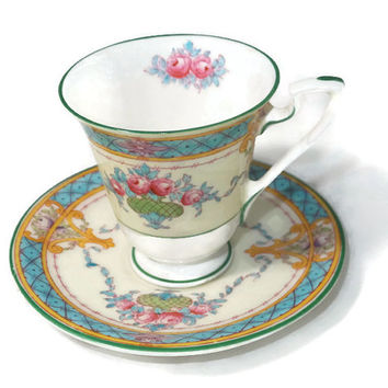 Vintage Cup and Saucer - Royal Worcester English Fine Bone China, Melba Pattern,  Demitasse Set, Tiny Set, Made in England