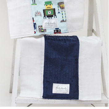 Baby Laundry 92136 Robots Navy Stripe 2-Pack Soft Minky Burp Cloths with Pacifier Clip