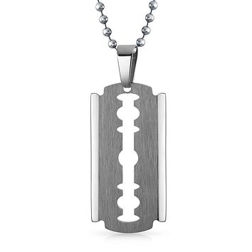 Razor Blade Silver Tone Edge Dog Tag Pendant Stainless Steel Necklace