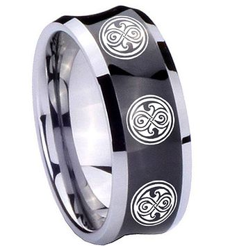 8MM Black Concave Multiple Doctor Who Two Tone Tungsten Carbide Laser Engraved Ring