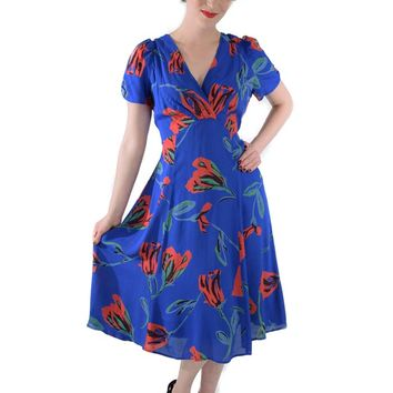 Vintage Inspired Cobalt Blue Floral Print Rayon Crepe Dress