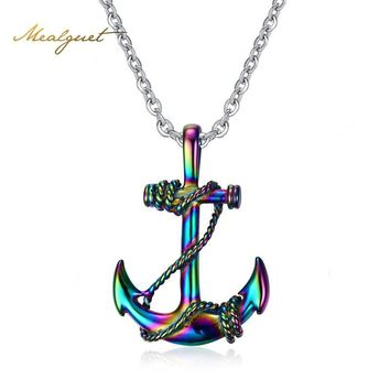 Meaeguet Unique Colorful Anchor Pendent Necklace For Men Vintage Stainless Steel Necklace Male Jewelry With Free Chain