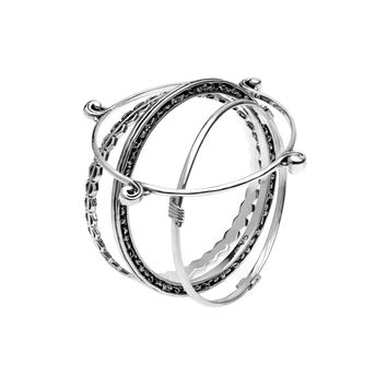 Elements Earth, Fire, Wind & Water Sterling Silver Bangles