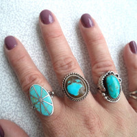 Sterling silver and turquoise inlay tribal ring/ vintage boho ring/ turquoise and silver southwestern style ring size 8