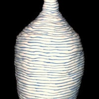 Large bottle- Ceramic container for wine, water, or liquid of choice.- Decorative blue and white bottle- Ceramic/Pottery-Big bottle