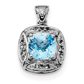 Sterling Silver Diamond & Cushion Light Swiss Blue Topaz Pendant