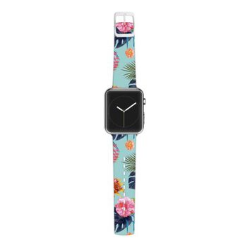 Kess InHouse Nika Martinez 38 mm Strap for Apple Watch - Non-Retail Packaging - Tropical Floral/Blue Flowers