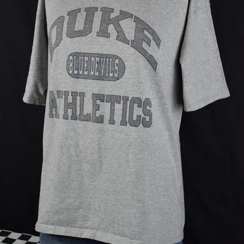 90s vintage t-shirt DUKE Blue Devils Athletics / Gray / DUKE University tee shirt / College / XL