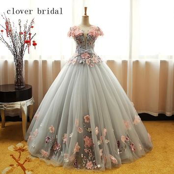 Grey Green Quinceanera Dresses Puffy Tulle With Pink Flowers Lace Prom Sweet 16 Dresses Ball Gowns Vestido De 15 Anos Baile
