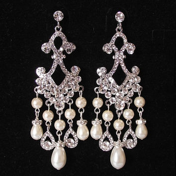 Bridal Chandelier Earrings Crystal Pearl Wedding Stat