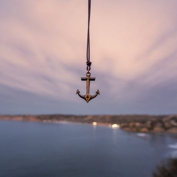 STRENGTH Hold Fast Anchor Necklace - Bronze on Leather Cord