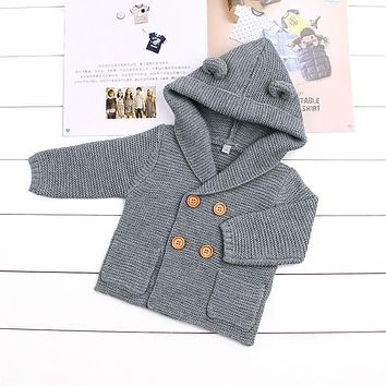 Baby Boy Knitting Cardigan 2017 Winter Warm Newborn Infant Sweaters Fashion Long Sleeve Hooded Coat Jacket Kids Clothing Outfits