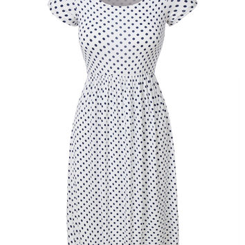 Lightweight Short Sleeve Polka Dot Print Flared Midi Dress
