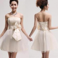 Bowknot strapless Knee-length bodycon Lace dress