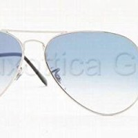 Ray-Ban Women's Etched Retro Aviator Sunglasses, Shiny Silver/Blue, One Size