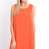Deep Orange Shift Dress