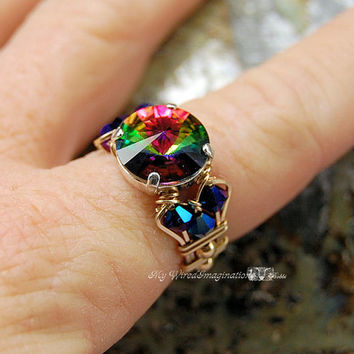 Vitrail Medium Swarovski Crystal Handmade Wire Wrapped Ring Signature Design Fine Jewelry