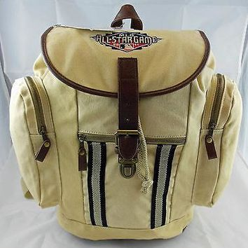 2011 MLB ALL STAR GAME KHAKI & LEATHER BACKPACK NEW WITH TAGS, FREE SHIPPING !