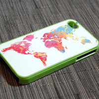 Lime Green Custom iPhone 4 or 4s Colorful World Case - neon, World Flags, World Map, Mosaic, unique iphone cases, gift, globe