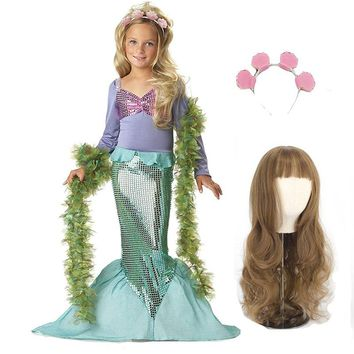 Pearl Diary Girls Mermaid Costume For Kids Swimmable Little Mermaid with Hair Summer Spliced Dress Costume with Handband