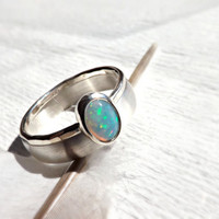 opal silver ring set, opal engagement ring, opal wedding band set, opal ring silver band, domed silver ring, white opal ring set silver