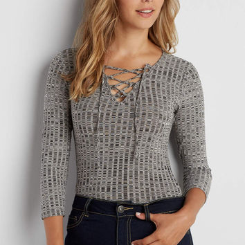 ribbed bodysuit with lace up neckline   maurices