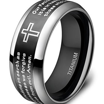 Men's Titanium Ring Black Silver Lord's Prayer Engraved with Cross Praying 8mm Size 6 - 14