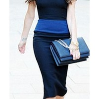Navy Royal Blue Two Tone Color Block Short Sleeve Crew Neck Zip Back Bodycon Midi Dress