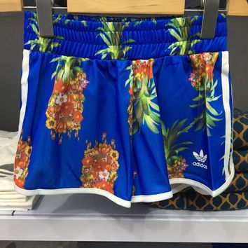 DCCKH3L Adidas ' Women Sports Casual Pineapple Pattern Print Shorts Hot Pants Leisure Pants Sweatpants