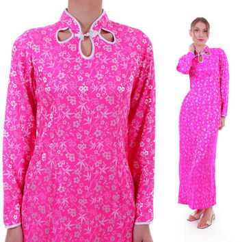 90s Vintage Hot Pink Silk Cheongsam Maxi Dress Long Sleeved Club Kid Rave Asian Kawaii Retro Clothing Women Size Medium