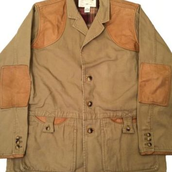 Orvis Heavy Cotton Leather Elbow Shoulder Patches Safari Hunting Coat Jacket 44