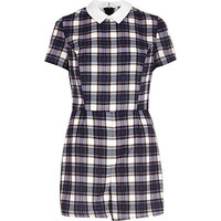 River Island Womens Blue Chelsea Girl plaid Romper