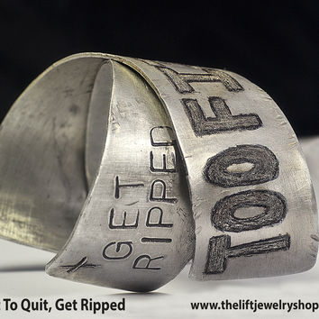 Fitness Inspiration Wrist Cuff, 'Get Ripped'- Wide Criss Cross Bracelet, Personalized Message, Unisex Fitness Jewelry