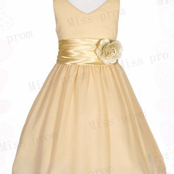 Lovely Princess Handmade Flower Zipper Sleeveless Chiffon Wedding/Evening Flower Girl Dress With Flowers Bow