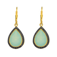 Drop Aqua Chalcedony Earrings Set In Yellow Gold Plated Sterling Silver And Black Spinel