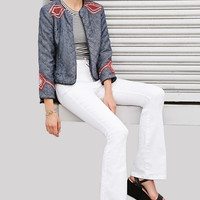 Geo-Embroidery Quilted Denim Jacket