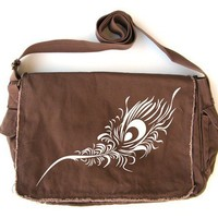 Peacock Feather Messenger Bag