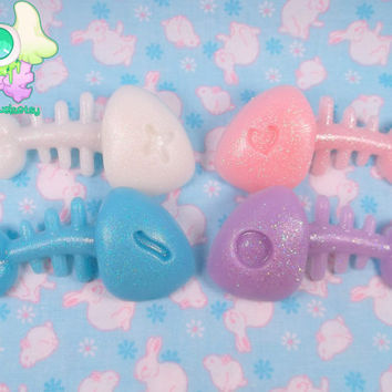 Creepy Cute Pastel Fish Bone Hair Clips - Pick One