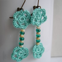Cute little flower earrings - mint Floral earrings - Lace earrings from MaryK Creations