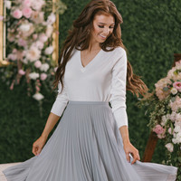 Camille Grey Pleated Midi Skirt