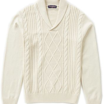 Roundtree & Yorke Shawl Collar Cable-Knit Pullover Sweater | Dillards