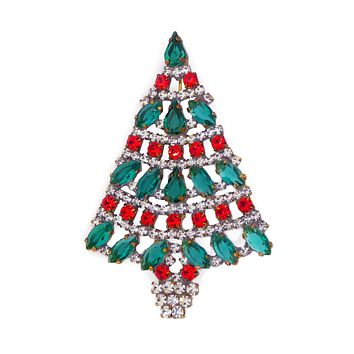 Red and Green Czech Glass Rhinestone Christmas Tree Brooch